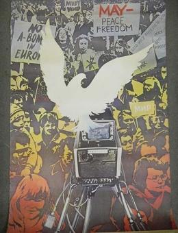 «MAY — peace freedom» художник Т.Старощук 100х70 тираж 130 000 «Плакат» Москва 1989 год