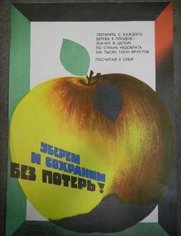 «Уберем и сохраним без потерь!» художник В.Арсеенков 47х33 тираж 105 000 «Плакат» 1979 год