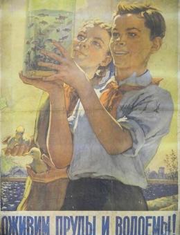 «Оживим пруды и водоемы!» художник В.Нарышкин 90х60 тираж 200 000 ИЗОГИЗ 1956