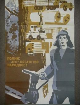 «Помни — лес, богатство народное» художник Р.Сурьянинов 90х60 тираж 35 000 «Плакат» 1975