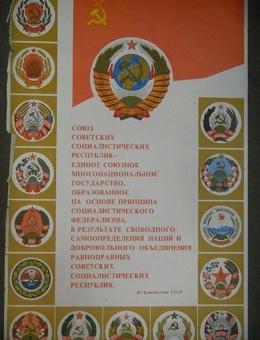 «Союз советских соц. республик единое …» худ Д.Зуськов 108х70 тираж 100 000 Москва1980