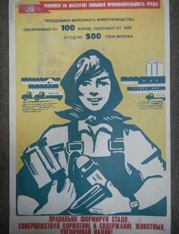 «Правильно формируй стадо…» художник Г.Киселев  50х30 тираж 60 000 «Плакат» 1981г