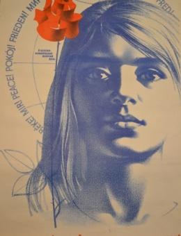 «Жінки світу! Єднайтеся у боротьбі за мир!»художник К.Кудряшова 86х61 трж.89 000 «Политиздат» Киев 1985г.