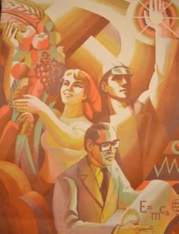 «Працею змінюй мир!» художник О.Терентьев 97х67 трж. 14 000  Политиздат Киев 1985г