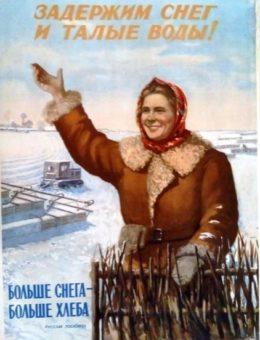 «Задержим снег и талые воды! Больше снега-больше хлеба» Худ.Г.Рычков 80х59 ИЗОГИЗ 1953г
