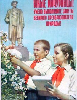 Юные мичуринцы ! Умело выполняйте заветы… Худ. Б.Березовский 78х56 ИЗОГИЗ 1955г.