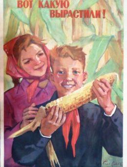«Вот какую вырастили !» Художник С. Низовая 90х60 Киев 1961г.