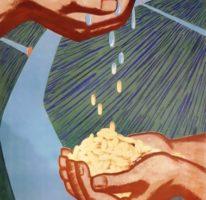 «Землю напоим, урожай удвоим » Художник Г.Кислякова 88х56 Киев 1966г