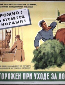 Будь осторожен при уходе за лошадью ! Художник П.Гапонов 43х56 Москва 1959г.